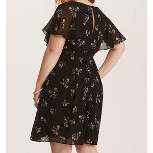Torrid Black Floral Chiffon Keyhole Skater Dress